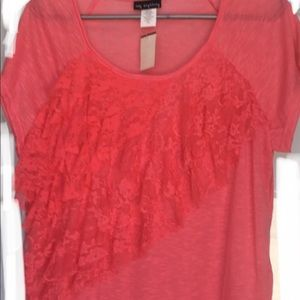 Coral cap sleeve top with lace ruffles